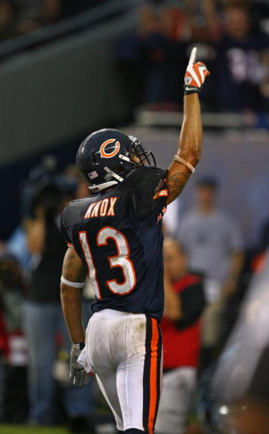CHICAGO - SEPTEMBER 20: Johnny Knox #13 of the Chicago Bears celebrates a touchdown catch against the Pittsburgh Steelers on September 20, 2009 at Soldier Field in Chicago, Illinois. The Bears defeated the Steelers 17-14. (Photo by Jonathan Daniel/Getty I