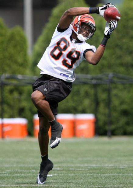 CINCINNATI - MAY 2:  Second round draft pick Jerome Simpson #89 of the Cincinnati Bengals catches a pass during rookie mini camp May 2, 2008 next to Paul Brown Stadium in Cincinnnati, Ohio.  (Photo by Mark Lyons/Getty Images)