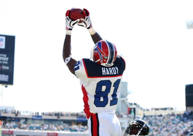 JACKSONVILLE, FL - SEPTEMBER 14:  Wide receiver James Hardy #81 of the Buffalo Bills reaches up to make a tochdown catch late in the fourth quarter against the Jacksonville Jaguars at Jacksonville Municipal Stadium on September 14, 2008 in Jacksonville, F