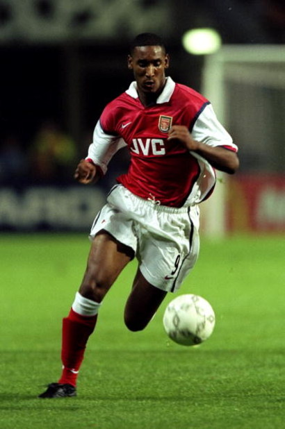 16 Sep 1998:  Nicolas Anelka of Arsenal in action against Lens in the UEFA Champions League match at the Stade Felix Bollaert in Lens, France. The game ended 1-1.  \ Mandatory Credit: Ben Radford /Allsport