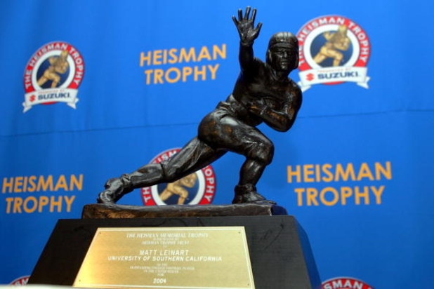 NEW YORK - DECEMBER 11:  The 2004 Heisman Trophy won by Matt Leinart of the University of Southern California Trojans on December 11, 2004 in New York City. (Photo by Chris Trotman/Getty Images)