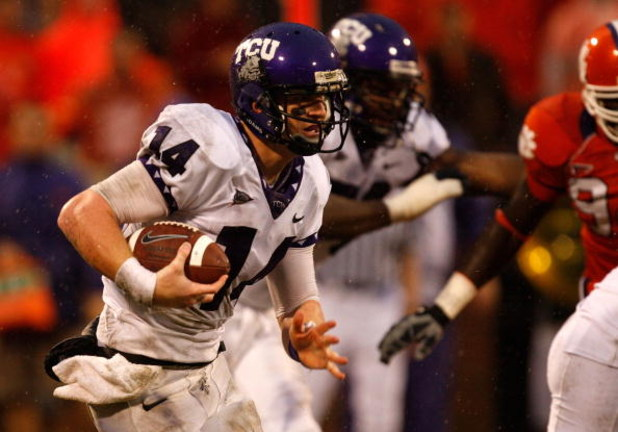 CLEMSON, SC - SEPTEMBER 26:  Andy Dalton #14 of the TCU Horned Frogs runs with the ball against the Clemson Tigers during their game at Memorial Stadium on September 26, 2009 in Clemson, South Carolina.  (Photo by Streeter Lecka/Getty Images)
