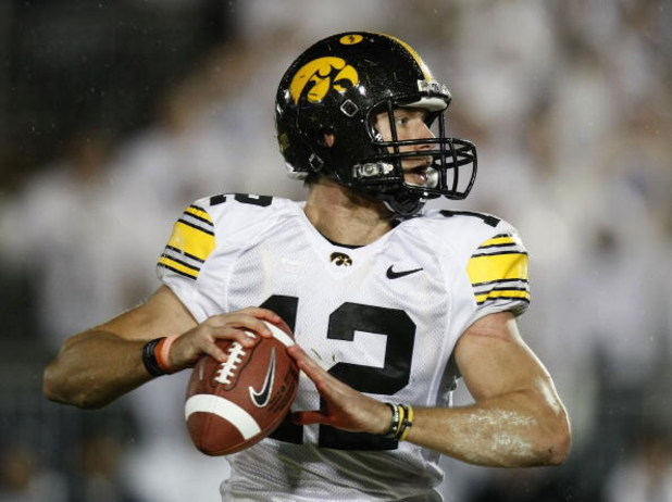 STATE COLLEGE, PA - SEPTEMBER 26:  Ricky Stanzi #12 of the Iowa Hawkeyes throws a pass while playing the Penn State Nittnay Lions on September 26, 2009 at Beaver Stadium in State College, Pennsylvania. Iowa won the game 21-10. (Photo by Gregory Shamus/Get