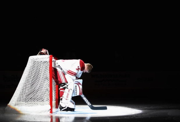 GLENDALE, AZ - OCTOBER 10:  Goaltender Ilya Bryzgalov #30 of the Phoenix Coyotes is introduced before the NHL game against the Columbus Blue Jackets at Jobing.com Arena on October 10, 2009 in Glendale, Arizona.  (Photo by Christian Petersen/Getty Images)