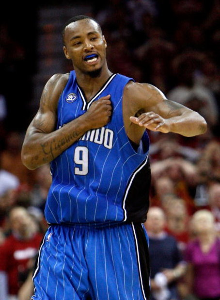 CLEVELAND - MAY 20:  Rashard Lewis #9 of the Orlando Magic celebrates after hitting a shot late in the game giving the Magic the lead against the Cleveland Cavaliers in Game One of the Eastern Conference Finals during the 2009 Playoffs at Quicken Loans Ar