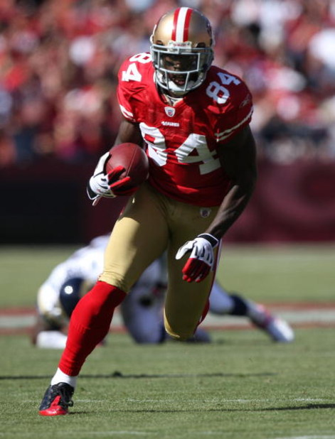 SAN FRANCISCO - OCTOBER 04:  Josh Morgan #84 of the San Francisco 49ers in action against the St. Louis Rams during an NFL game on October 4, 2009 at Candlestick Park in San Francisco, California.  (Photo by Jed Jacobsohn/Getty Images)