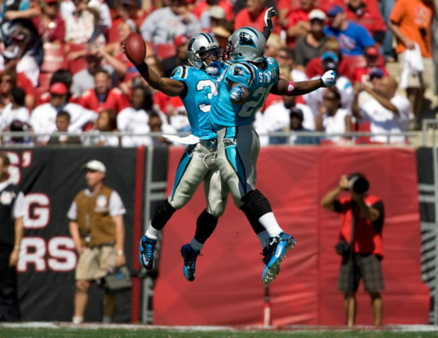 TAMPA, FL - OCTOBER 18:  Safety Charles Godfrey #30 and running back Jonathan Stewart #28 of the Carolina Panthers celebrate a turnover against the Tampa Bay Buccaneers during the game at Raymond James Stadium on October 18, 2009 in Tampa, Florida.  (Phot