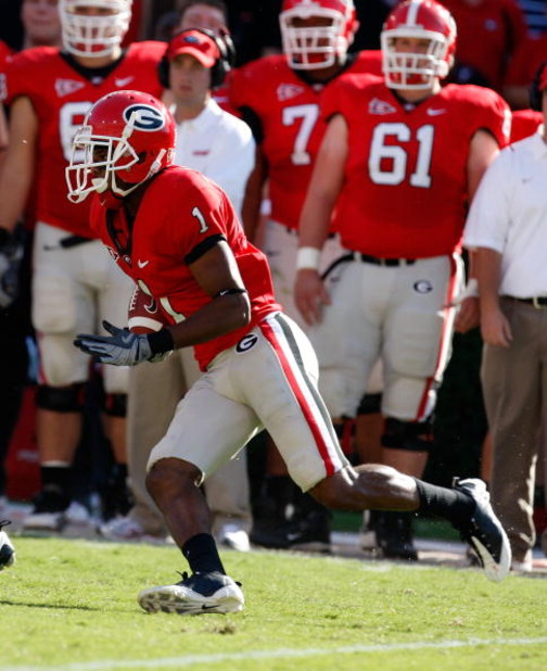 ATHENS, GA - OCTOBER 03:  Branden Smith #1 of the Georgia Bulldogs against the Louisiana State University Tigers at Sanford Stadium on October 3, 2009 in Athens, Georgia.  (Photo by Kevin C. Cox/Getty Images)