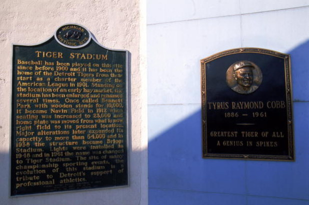 27 Sep 1999:  A view of the Tiger Stadium with Tyrus Raymond Cobb plaque taken during the last game played at the Tiger Stadium against the Kansas City Royals in Detroit, Michigan. The Tigers defeated the Royals 8-2. Mandatory Credit: Ezra O. Shaw  /Allsp