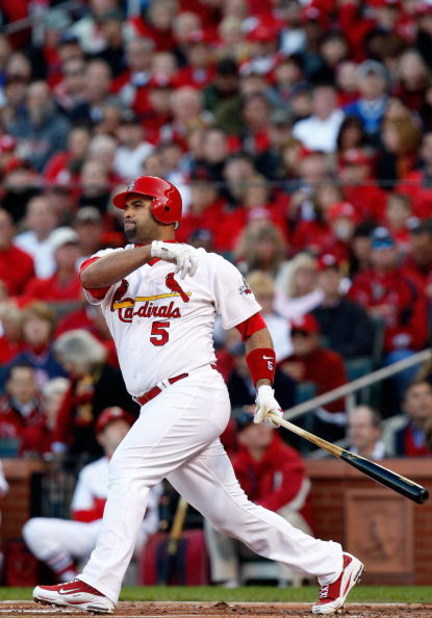 ST. LOUIS , MO - OCTOBER 10:  :  Albert Pujols #5 of the St. Louis Cardinals in Game Three of the NLDS during the 2009 MLB Playoffs at Busch Stadium on October 10, 2009 in St. Louis, Missouri.  (Photo by Ronald Martinez/Getty Images)