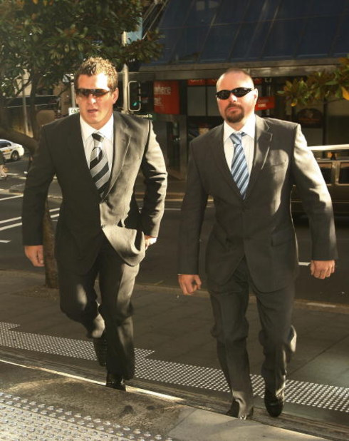 SYDNEY, AUSTRALIA - APRIL 27:  NRL player Greg Bird (L) and his defence lawyer Les Nicholls arrive at Sydney Downing Centre Local Court on April 27, 2009 in Sydney, Australia. Bird faced charges of reckless wounding, public mischief, and making false accu