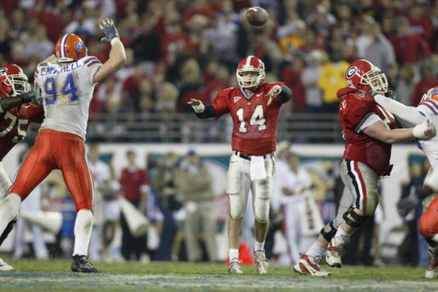 Quarterback David Greene #14 of the Georgia Bulldogs throws a pass during the game against the Florida Gators at Alltel Stadium on November 2, 2002 in Jacksonville, Florida.  The Gators won 20-13  (Photo by Andy Lyons/Getty Images)