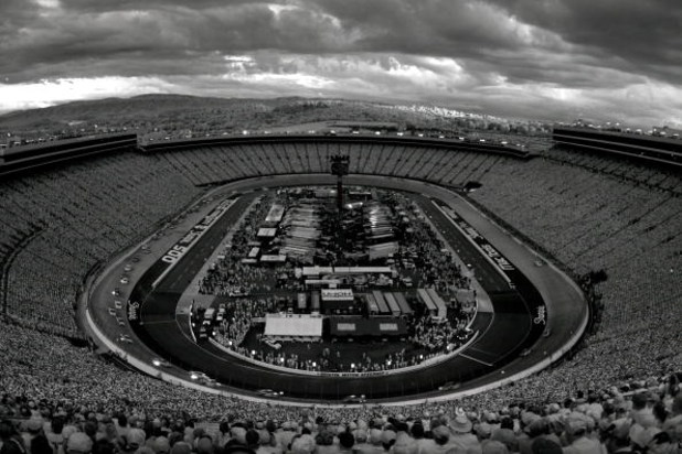 BRISTOL, TN - AUGUST 22: (EDITORS NOTE: AN INFRARED CAMERA WAS USED TO CREATE THIS IMAGE) A general view of cars racing during the NASCAR Sprint Cup Series Sharpie 500 at Bristol Motor Speedway on August 22, 2009 in Bristol, Tennessee.  (Photo by Jason Sm