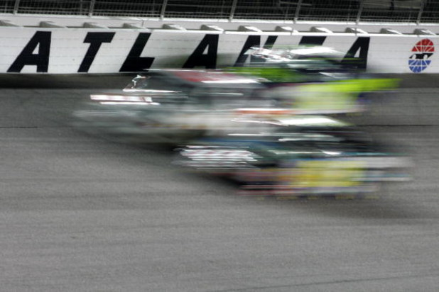 HAMPTON, GA - MARCH 16:  Trucks race during the NASCAR Craftsman Truck Series American Commercial Lines 200 at Atlanta Motor Speedway on March 16, 2007 in Hampton, Georgia.  (Photo by Todd Warshaw/Getty Images for NASCAR)