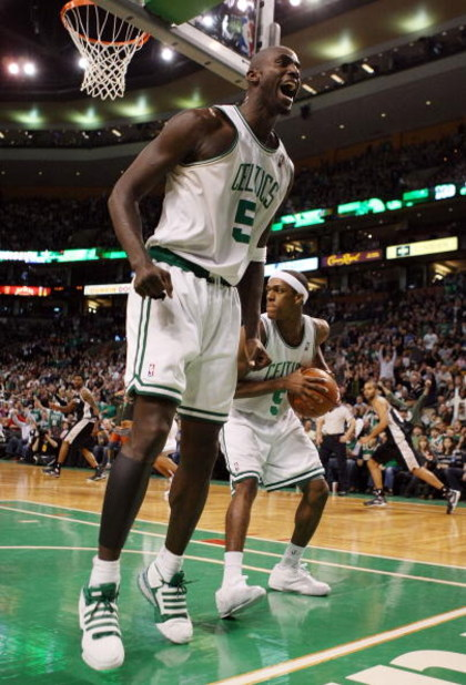 BOSTON - FEBRUARY 08:  Kevin Garnett #5 of the Boston Celtics celebrates a shot against the San Antonio Spurs on February 8, 2009 at TD Banknorth Garden in Boston, Massachusetts. The Spurs defeated the Celtics 105-99. NOTE TO USER: User expressly acknowle