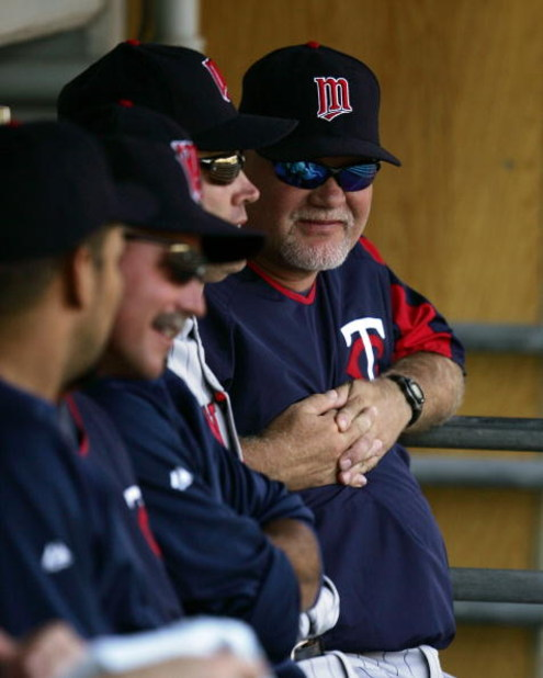CHICAGO - JULY 06: Manager Ron Gardenhire #35 of the Minnesota Twins smiles at his team in the dugout during a game against the Chicago White Sox on July 6, 2007 at U.S. Cellular Field in Chicago, Illinois. The Twins defeated the White Sox 20-14. (Photo b