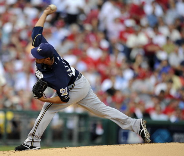 PHILADELPHIA - OCTOBER 1:  Yovani Gallardo #49 of the Milwaukee Brewers delivers in Game 1 of the National League Division Series playoffs against of the Philadelphia Phillies at Citizens Bank Park October 1, 2008 in Philadelphia, Pennsylvania.  (Photo by