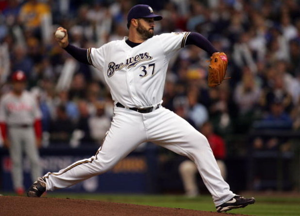MILWAUKEE - OCTOBER 05:  Jeff Suppan #37 of the Milwaukee Brewers deals a pitch against the Philadelphia Phillies in game four of the NLDS during the 2008 MLB playoffs at Miller Park on October 5, 2008 in Milwaukee, Wisconsin.  (Photo by Jim McIsaac/Getty