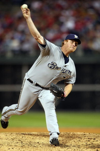 PHILADELPHIA - OCTOBER 02:  Seth McClung #73 of the Milwaukee Brewers pitches against the Philadelphia Phillies during Game 2 of the NLDS Playoffs at Citizens Bank Ballpark on October 2, 2008 in Philadelphia, Pennsylvania.  (Photo by Nick Laham/Getty Imag