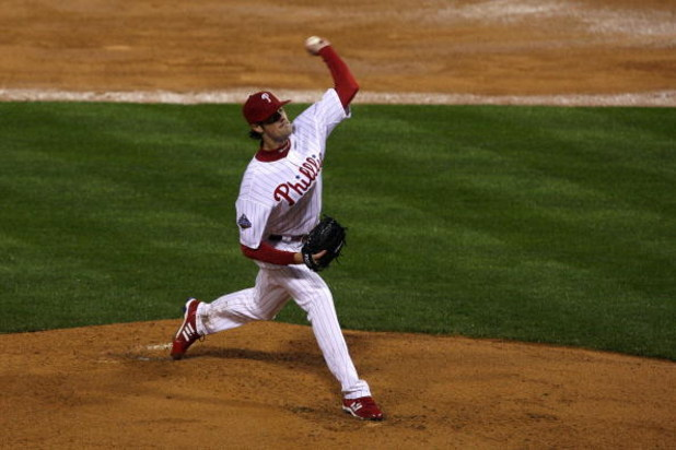 PHILADELPHIA - OCTOBER 27:  Starting pitcher Cole Hamels #35 of the Philadelphia Phillies throws a pitch against the Tampa Bay Rays during game five of the 2008 MLB World Series on October 27, 2008 at Citizens Bank Park in Philadelphia, Pennsylvania.  (Ph