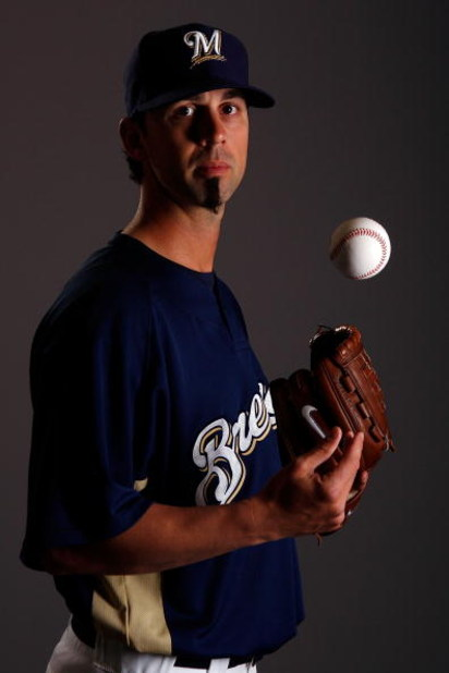 MARYVALE, AZ - FEBRUARY 26:  David Riske #54  poses for a photo during the Milwaukee Brewers Spring Training Photo Day at Maryvale Baseball Park on February 26, 2008 in Maryvale, Arizona.  (Photo by Chris Graythen/Getty Images)