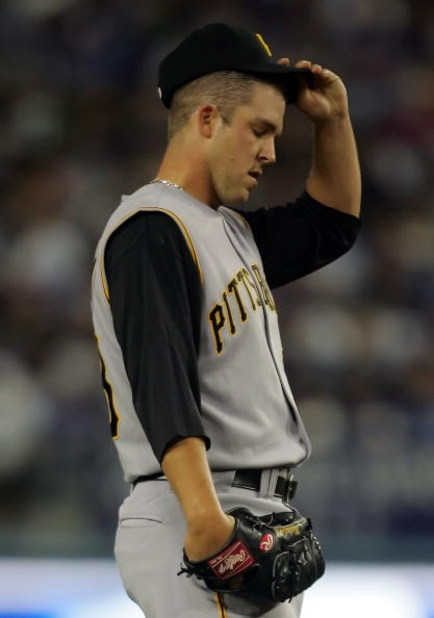 LOS ANGELES, CA - APRIL 16:  Pitcher Paul Maholm #28 of the Pittsburgh Pirates reacts after giving up a bunt to Juan Pierre of the Los Angeles Dodgers in the first inning at Dodger Stadium on April 16, 2008 in Los Angeles, California.  (Photo by Jeff Gros
