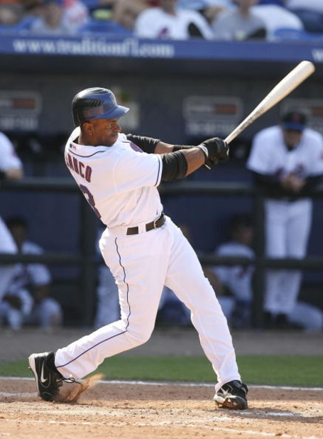 PORT SAINT LUCIE, FL - FEBRUARY 28:  Designated hitter Julio Franco #23 of the New York Mets watches his hit fall against the Detroit Tigers in a spring training game on February 28, 2007 at Tradition Field in Port Saint Lucie, Florida.  (Photo by Doug Be