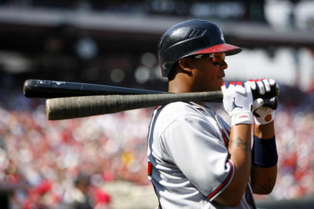 PHILADELPHIA, PA - APRIL 2: Outfielder Andruw Jones #25 of the Atlanta Braves looks on against the Philadelphia Phillies during a Opening Day game on April 2, 2007 at Citizens Bank Park in Philadelphia, Pennsylvania. (Photo by Rob Tringali/Getty Images)