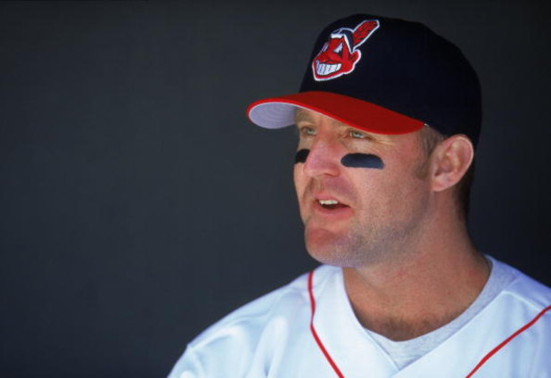 14 Apr 2000: Jim Thome #25 of the Cleveland Indians looks on from the dugout during the game against the Texas Rangers at Jacobs Field in Cleveland, Ohio. The Rangers defeated the Indians 7-2.