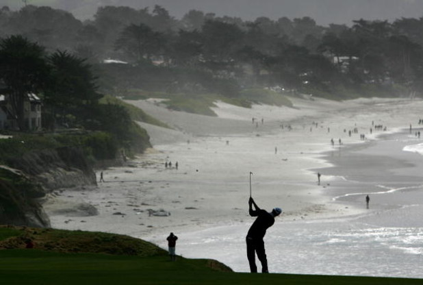 PEBBLE BEACH, CA - FEBRUARY 11:  John Mallinger hits from the 9th fairway of Pebble Beach Golf Links during the final round of the AT&T Pebble Beach National Pro-Am February 11, 2007 in Pebble Beach, California. Mallinger finished the day 1 under par to f
