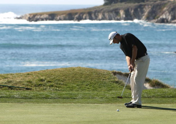 PEBBLE BEACH, CA - FEBRUARY 09:  Dustin Johnson makes a birdie putt on the fourth hole during the third round of the At&T Pebble Beach National Pro-Am at Pebble Beach Golf Links on February 9, 2008 in Pebble Beach, California.  (Photo by Jed Jacobsohn/Get