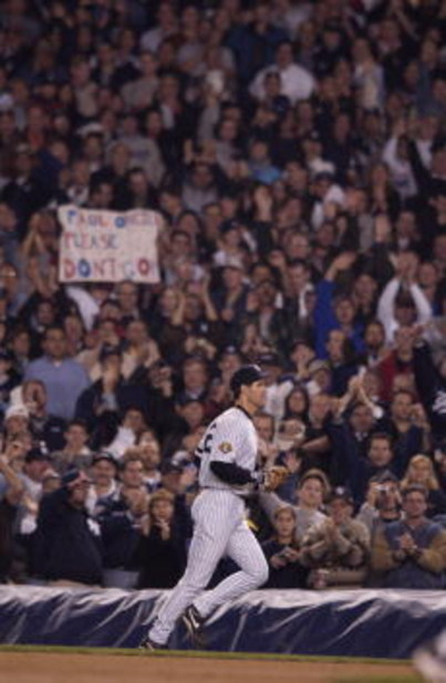 1 Nov 2001:  Paul ONeill #21 of the New York Yankees walks off the field as fan chant his name during game 5 of the World Series against the Arizona Diamondbacks at Yankee Stadium in New York, New York. Yankees win 3-2 over the Diamondbacks. DIGITAL IMAGE