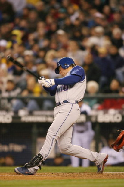 SEATTLE - APRIL 2:  Michael Young #10 of the Texas Rangers bats against the Seattle Mariners during the game on April 2, 2008 at Safeco Field in Seattle, Washington. (Photo by Otto Greule Jr/Getty Images)