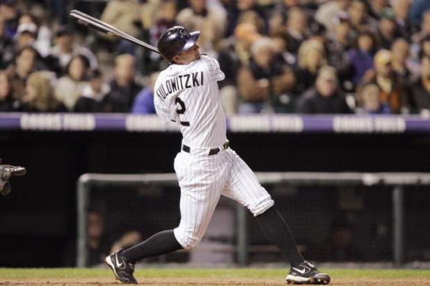 DENVER - APRIL 16: Troy Tulowitzki of the Colorado Rockies swings at the pitch during the game against the San Francisco Giants on April 16, 2007 at Coors Field in Denver, Colorado.  The Giants won 8-0.  (Photo by Brian Bahr/Getty Images)