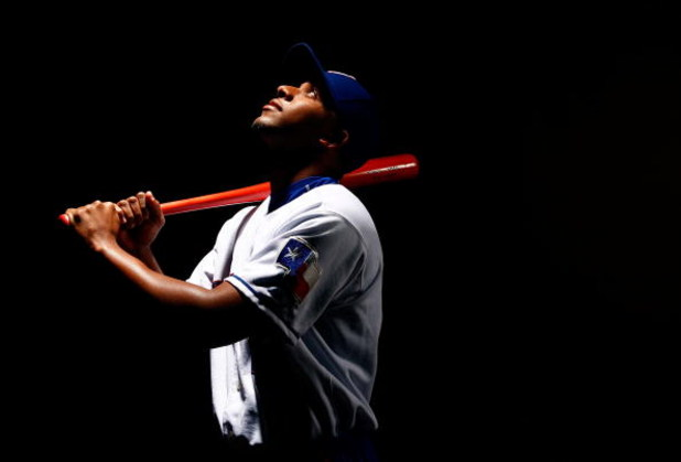 SURPRISE, AZ - FEBRUARY 24:  Elvis Andrus #1 of the Texas Rangers poses for a portrait during spring training on February 24, 2008 at Surprise Stadium in Surprise, Arizona.  (Photo by Jamie Squire/Getty Images)