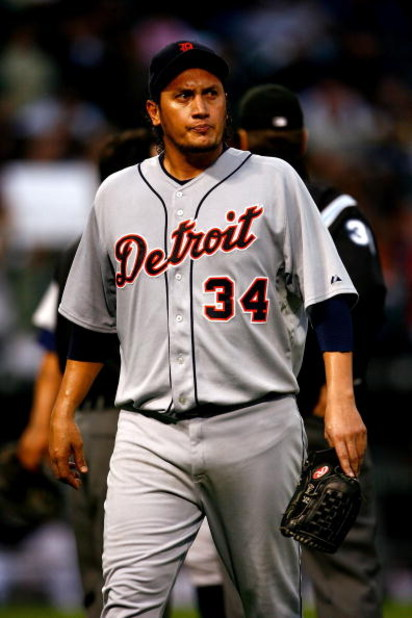 CHICAGO - SEPTEMBER 29:  Starting pitcher Freddy Garcia #34 of the Detroit Tigers walks to the dugout after he was taken out of the game in the bottom of the sixth inning against the Chicago White Sox at U.S. Cellular Field on September 29, 2008 in Chicag