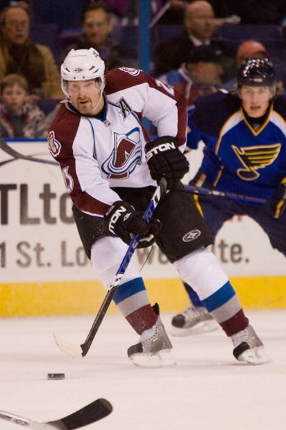 ST. LOUIS, MO - JANUARY 15:  Milan Hejduk #23 of the Colorado Avalanche skates with the puck against the St. Louis Blues at the Scottrade Center on January 15, 2009 in St. Louis, Missouri. (Photo by Dilip Vishwanat/Getty Images)