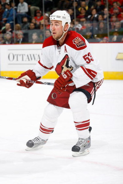 OTTAWA - OCTOBER 17:  Derek Morris #53 of the Phoenix Coyotes skates during the game against the Ottawa Senators on October 17, 2008 at the Scotiabank Place in Ottawa, Ontario, Canada. The Senators defeated the Coyotes 6-2. (Photo by Phillip MacCallum/Get