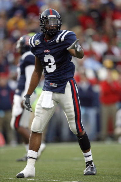 OXFORD, MS - NOVEMBER 17: Shay Hodge #3 of the Mississippi Rebels points to the sideline during a game against the LSU Tigers on November 17, 2007 at Vaught-Hemingway Stadium/Hollingsworth Field in Oxford, Mississippi. LSU beat Mississippi 41-24. (Photo b
