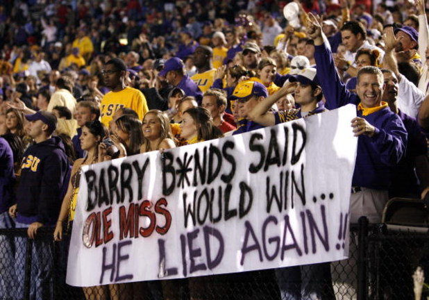 OXFORD, MS - NOVEMBER 17:  LSU Tigers fans show a sign about Barry Bonds during a game against the Mississippi Rebels at Vaught-Hemingway Stadium at Hollingsworth Field November 17, 2007 in Oxford, Mississippi. LSU beat Mississippi 41-24.  (Photo by Joe M