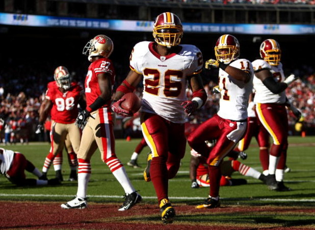 SAN FRANCISCO - DECEMBER 28:  Clinton Portis #26 of the Washington Redskins scores a touchdown against  the San Francisco 49ers at Candlestick Park on December 28, 2008 in San Francisco, California  (Photo by Jonathan Ferrey/Getty Images)