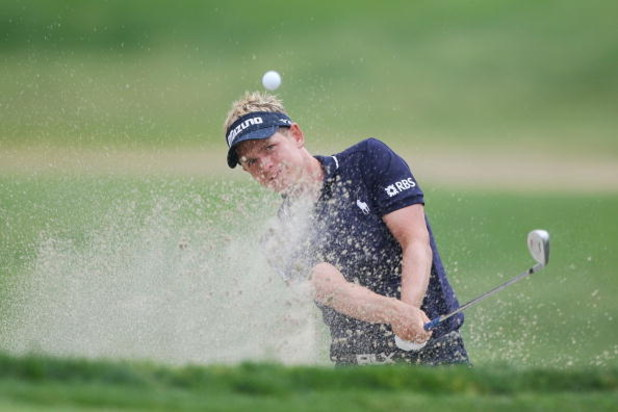 SAN DIEGO - JUNE 14:  Luke Donald of England plays from a greenside bunker on the eighth hole during the third round of the 108th U.S. Open at the Torrey Pines Golf Course (South Course) on June 14, 2008 in San Diego, California.  (Photo by Donald Miralle