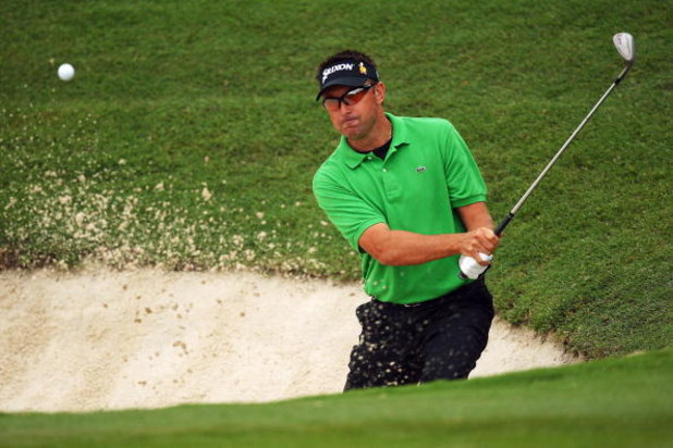 SYDNEY, AUSTRALIA - DECEMBER 13:  Robert Allenby of Australia plays a bunker shot during round one of the Australian Open Championship at The Australian Golf Club on December 13, 2007 in Sydney, Australia.  (Photo by Cameron Spencer/Getty Images)