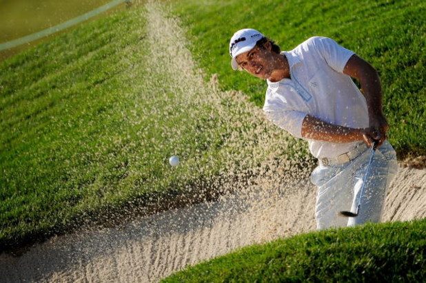 BLOOMFIELD HILLS, MI - AUGUST 06:  Aaron Baddeley of Australia plays from a bunker during a practice round prior to the 90th PGA Championship at Oakland Hills Country Club on August 6, 2008 in Bloomfield Township, Michigan.  (Photo by Sam Greenwood/Getty
