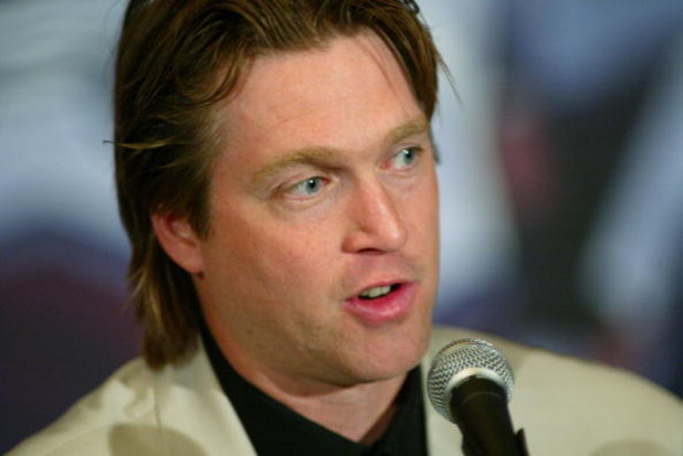 DENVER, CO - MAY 28:  Colorado Avalanche goalie Patrick Roy announces his retirement from the NHL after 18 seasons at the Pepsi Center May 28, 2003 in Denver, Colorado. Roy is the NHL's career leader with 551 victories and 1,029 games played, a three-time