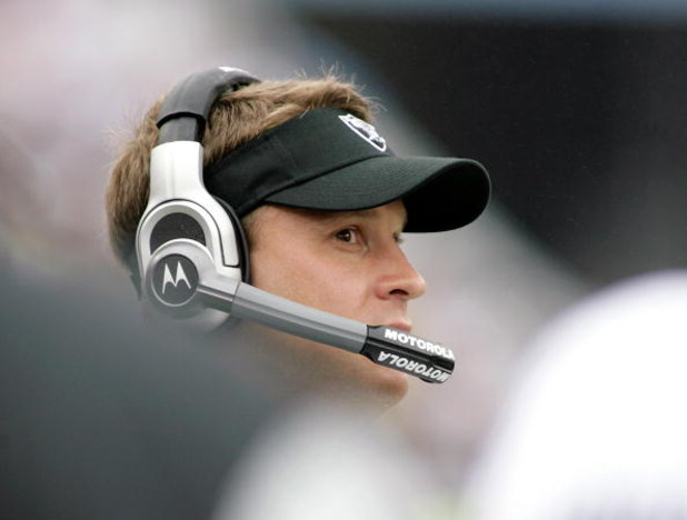 ORCHARD PARK, NY - SEPTEMBER 21: Lane Kiffin, head coach of the Oakland Raiders watches from the sideline against the Buffalo Bills  on September 21, 2008 at Ralph Wilson Stadium in Orchard Park, New York. Buffalo won 24-23.  (Photo by Rick Stewart/Getty