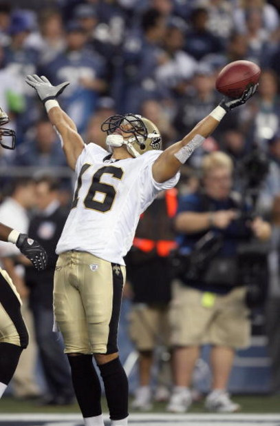 SEATTLE - OCTOBER 14: Wide receiver Lance Moore #16 of the New Orleans Saints celebrates a touchdown against the Seattle Seahawks at Qwest Field on October 14, 2007 in Seattle, Washington. (Photo by Otto Greule Jr/Getty Images)