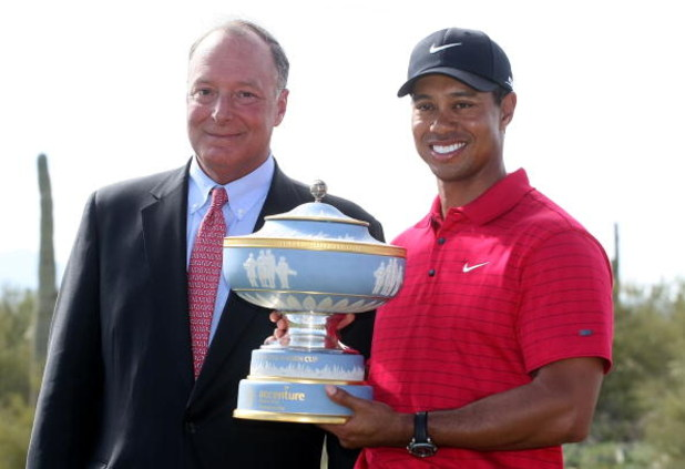 MARANA, AZ - FEBRUARY 24:  Tiger Woods poses with William Green of Accenture and the Walter Hagen Cup after winning the WGC-Accenture Match Play Championship at The Gallery at Dove Mountain on February 24, 2008 in Marana, Arizona.  (Photo by Scott Hallera