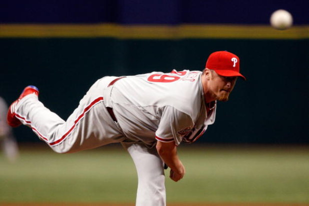 ST PETERSBURG, FL - OCTOBER 23:  Brett Myers #39 of the Philadelphia Phillies throws a pitch against the Tampa Bay Rays during game two of the 2008 MLB World Series on October 23, 2008 at Tropicana Field in St. Petersburg, Florida.  (Photo by Scott Audett