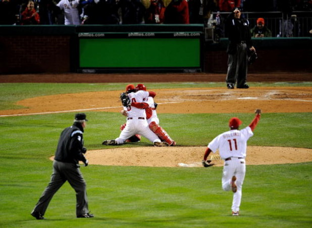 PHILADELPHIA - OCTOBER 29:  Catcher Carlos Ruiz #51 and Brad Lidge #54 of the Philadelphia Phillies celebrate after recording the final out of their 4-3 win to win the World Series against the Tampa Bay Rays during the continuation of game five of the 200